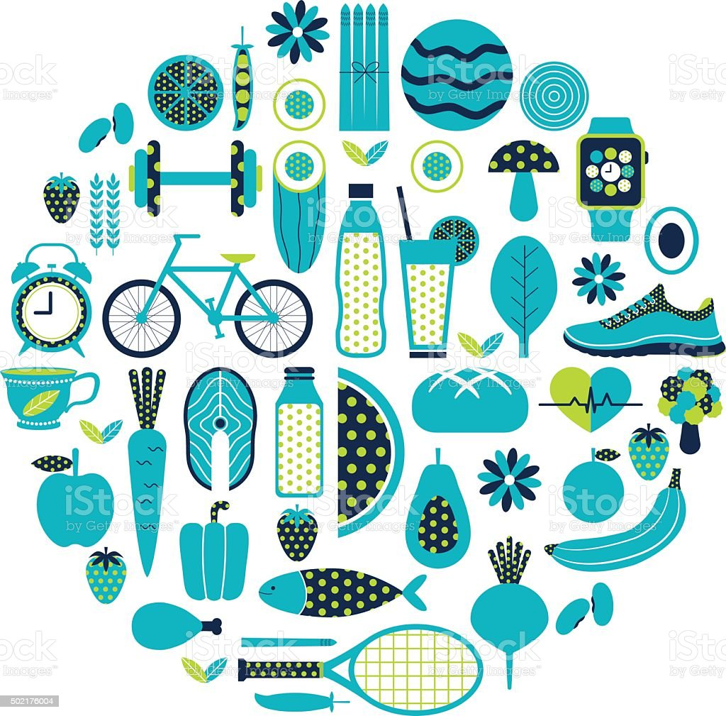 Healthy lifestyle icon set in blue colour vector art illustration