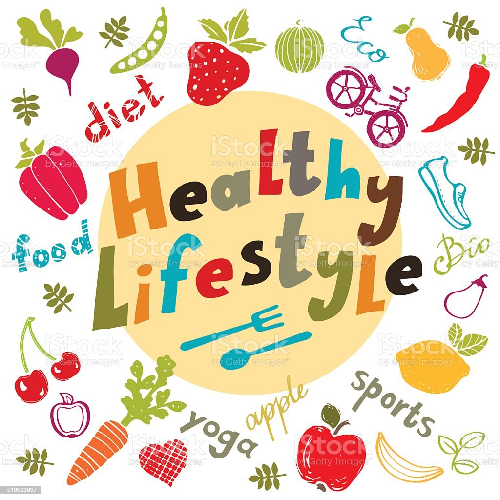 Healthy lifestyle icons set isolated vector art illustration