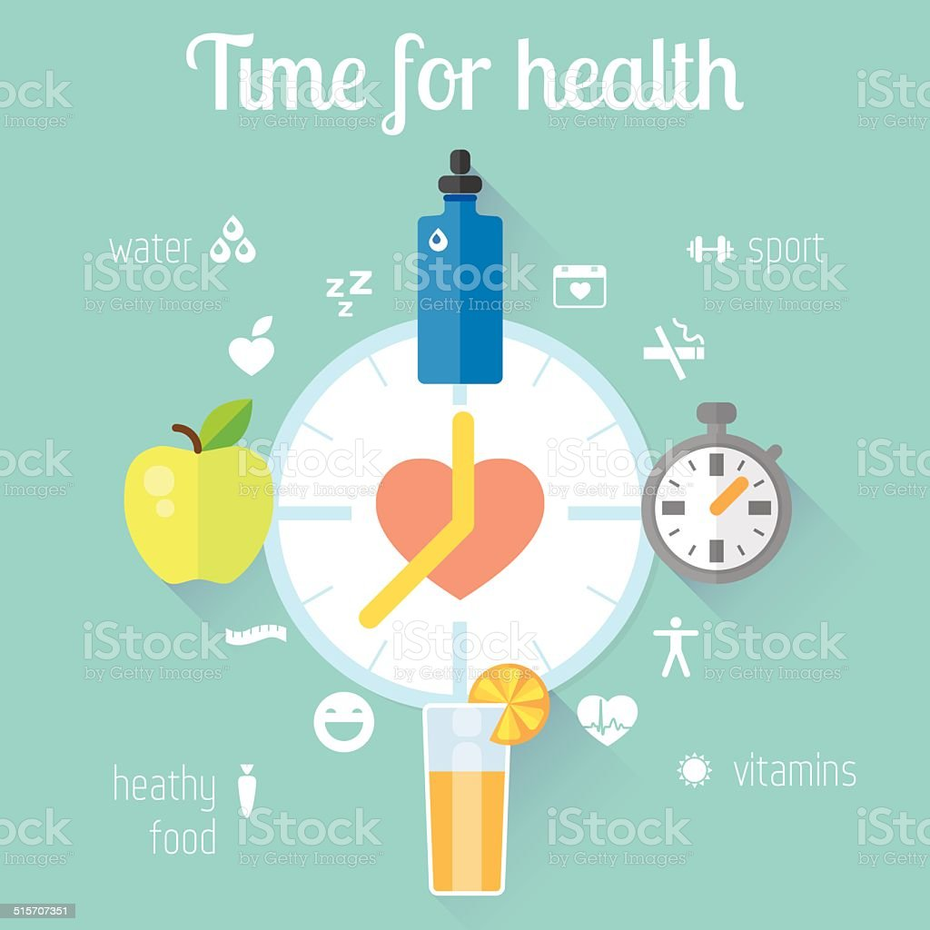 Healthy lifestyle llustration and info graphic. Food, water, sport. vector art illustration