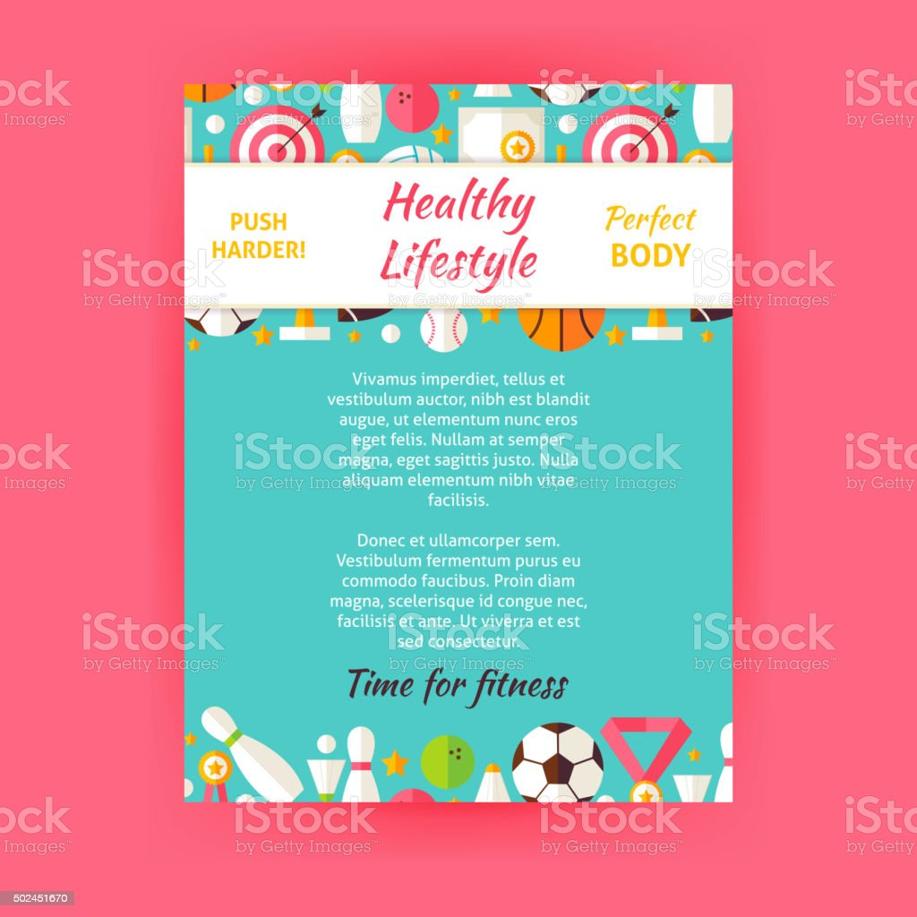 Healthy Lifestyle Sport Invitation Vector Template Flyer vector art illustration