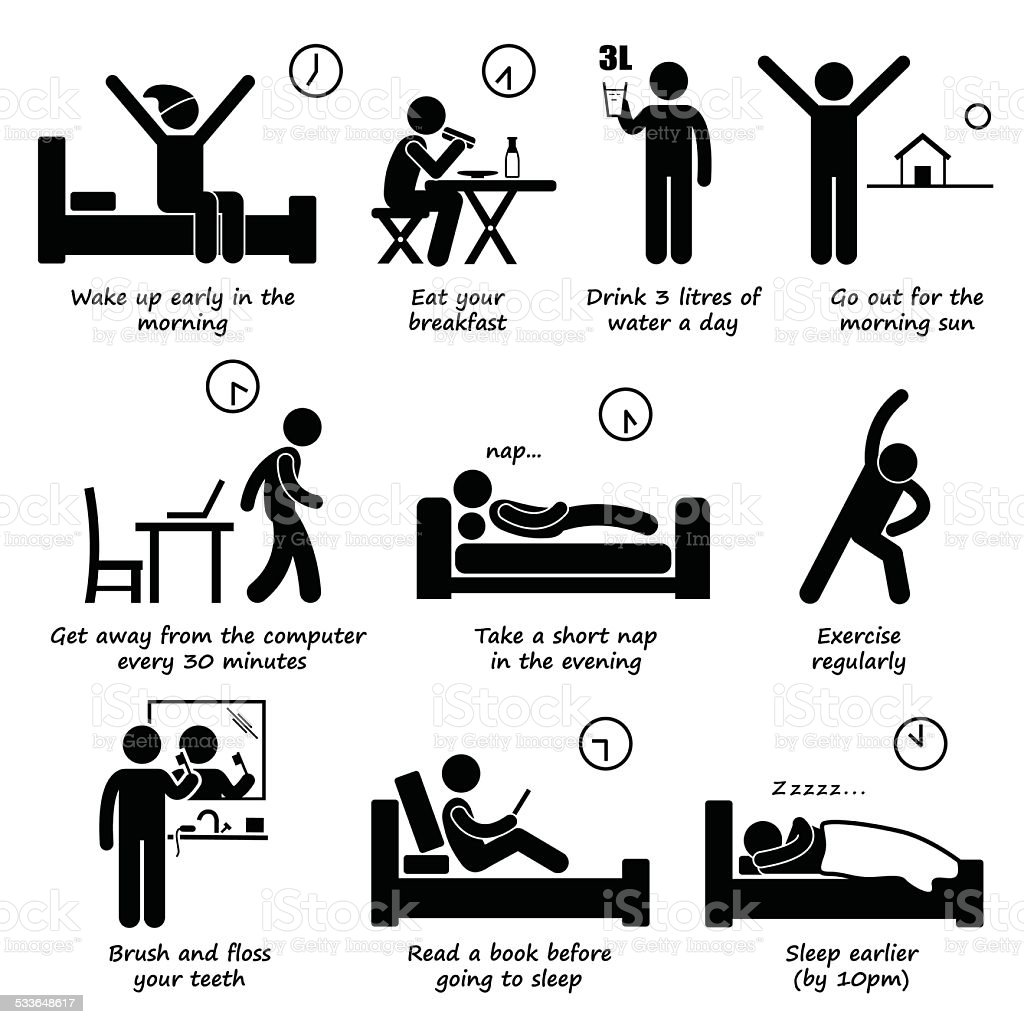 Healthy Lifestyles Daily Routine Tips Stick Figure Pictogram Icons vector art illustration