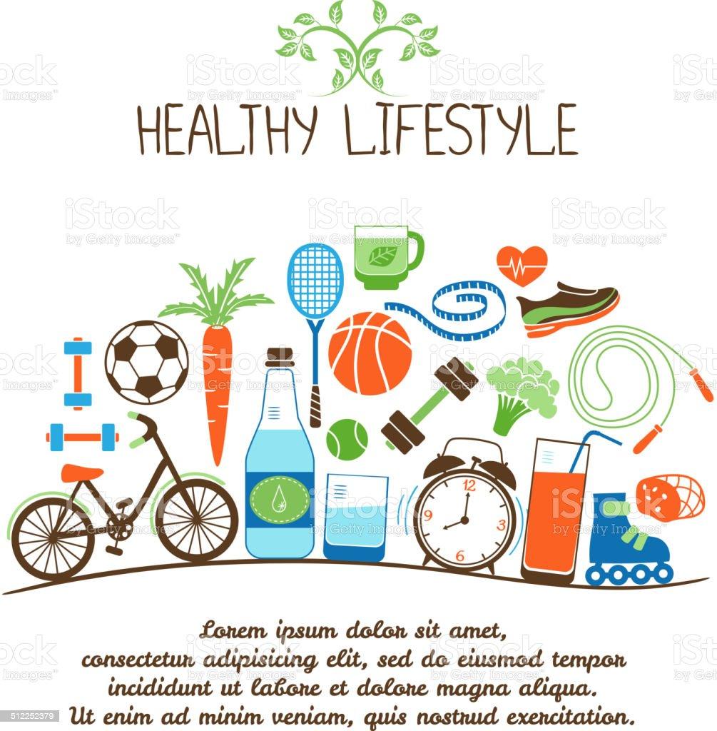 healthy lifestyles vector art illustration