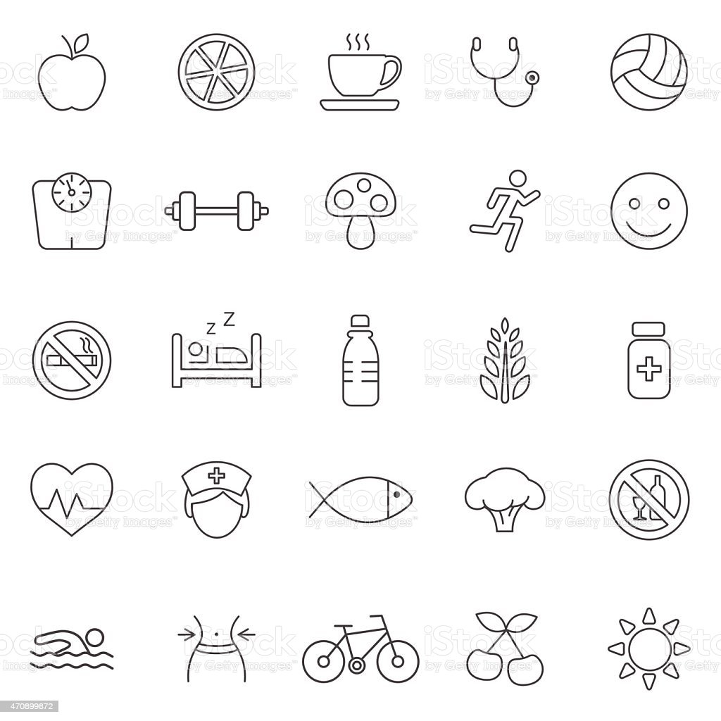 Healthy line icons set.Vector vector art illustration