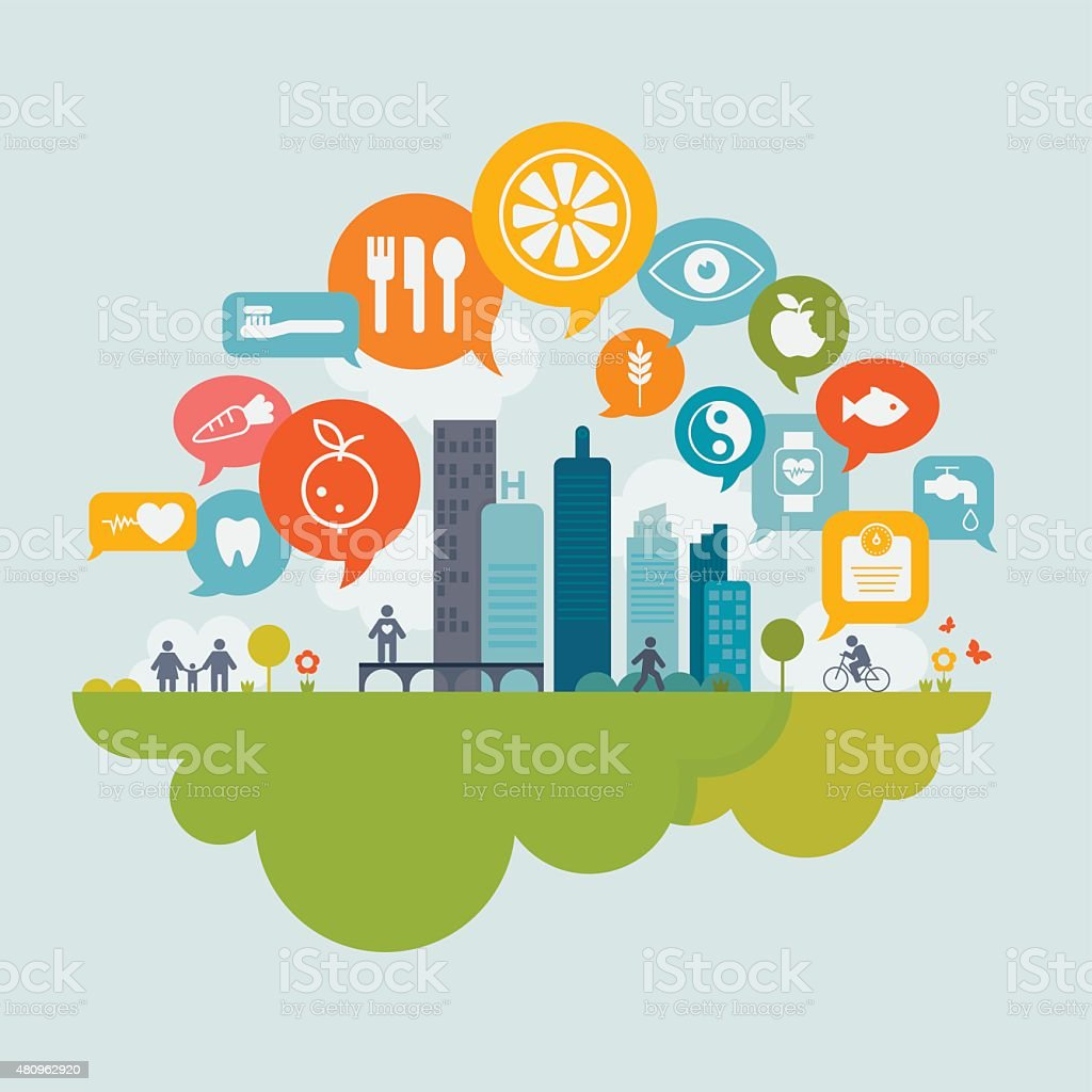 Healthy Living In City Concept vector art illustration