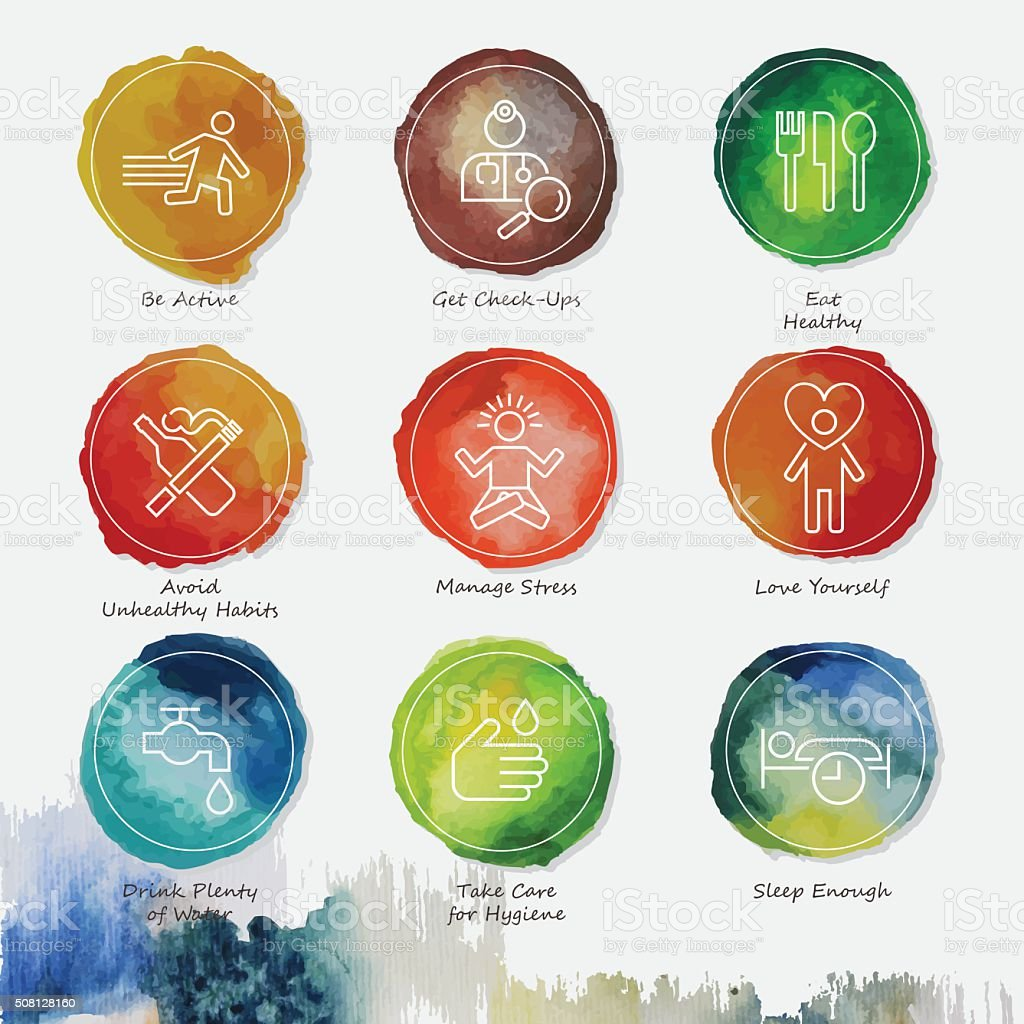 Healthy Living Watercolor Icons Set vector art illustration