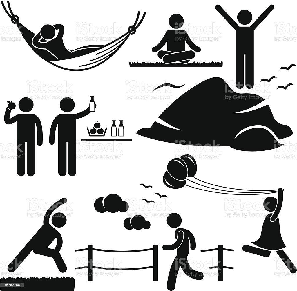 Healthy Living Wellness Lifestyle Pictogram vector art illustration