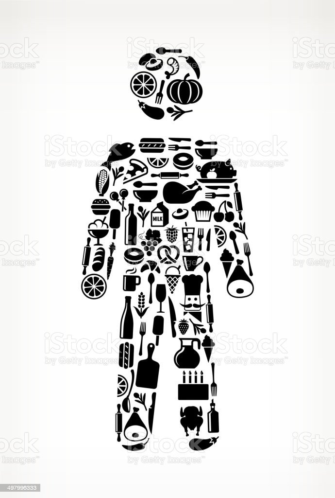 man Stick Figure on royalty free vector icons Food and Drink. The...