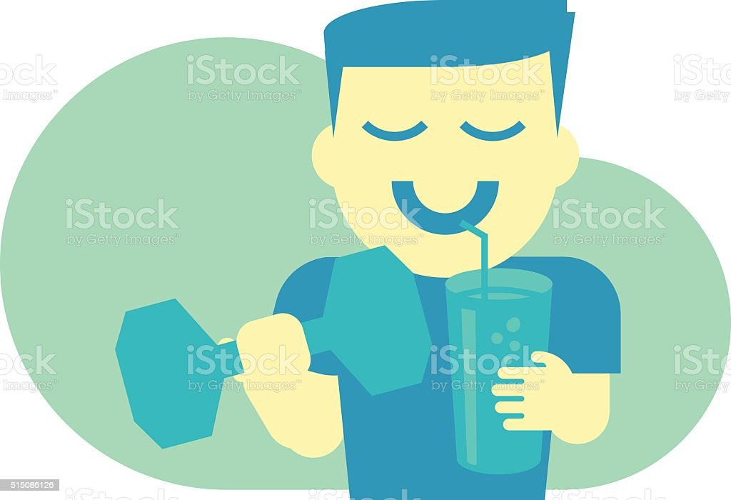 Healthy Man with Barbell and Smoothie Shake Flat Design vector art illustration