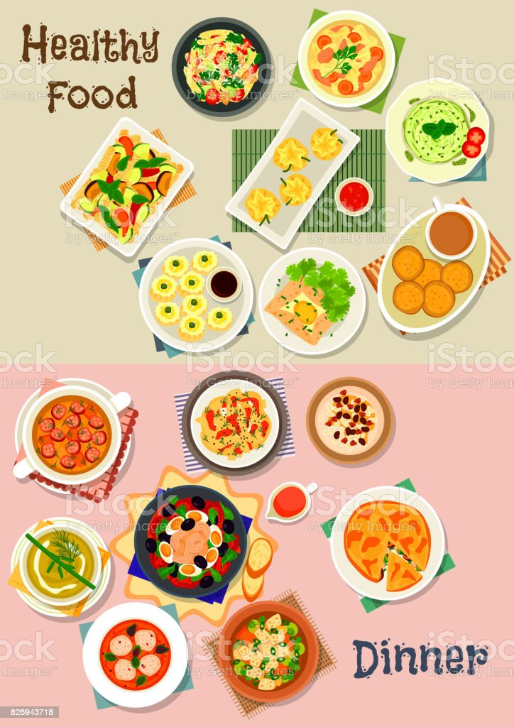Healthy meal dishes icon set for food theme design vector art illustration