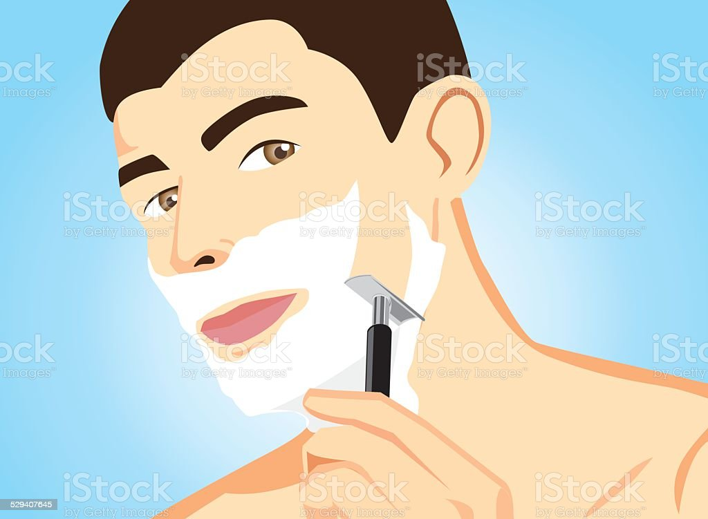 Healthy Men Shaving vector art illustration