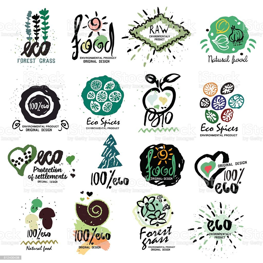 Healthy organic food labels for vegetarians logo. vector art illustration