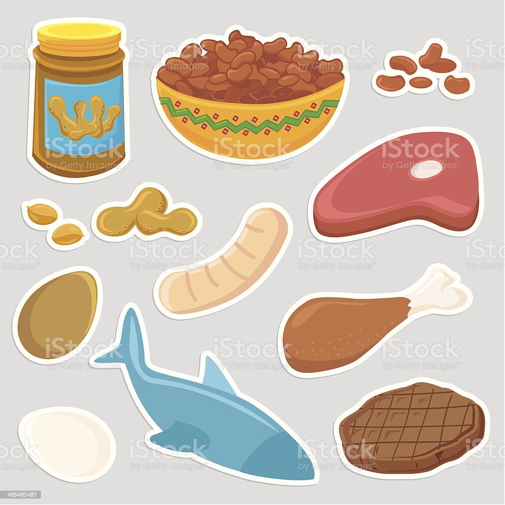 Healthy Protein Meat food icons vector art illustration