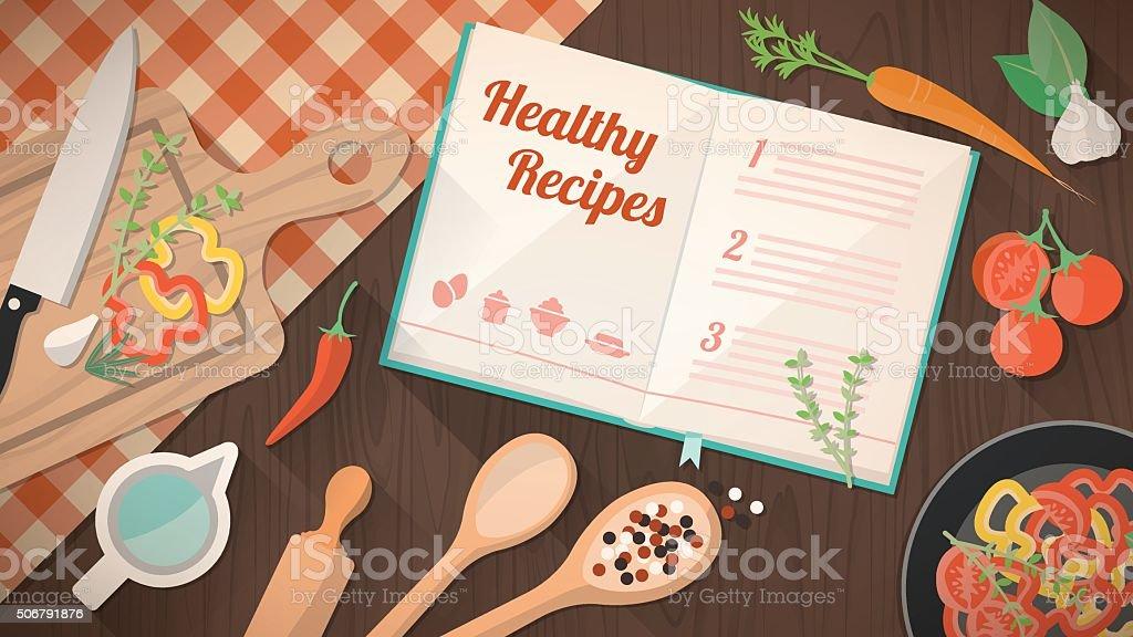Healthy recipes cookbook vector art illustration