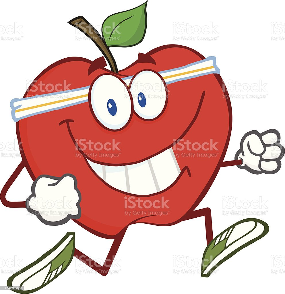Healthy Red Apple Jogging royalty-free stock vector art