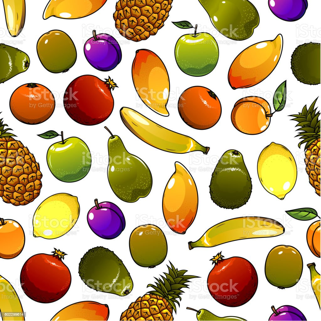 Healthy ripe fruits seamless pattern background vector art illustration