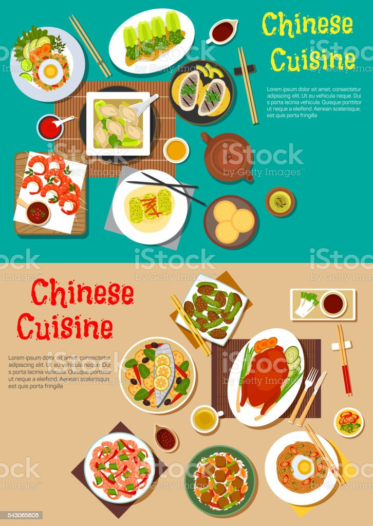 Healthy seafood and meat dishes of chinese cuisine vector art illustration