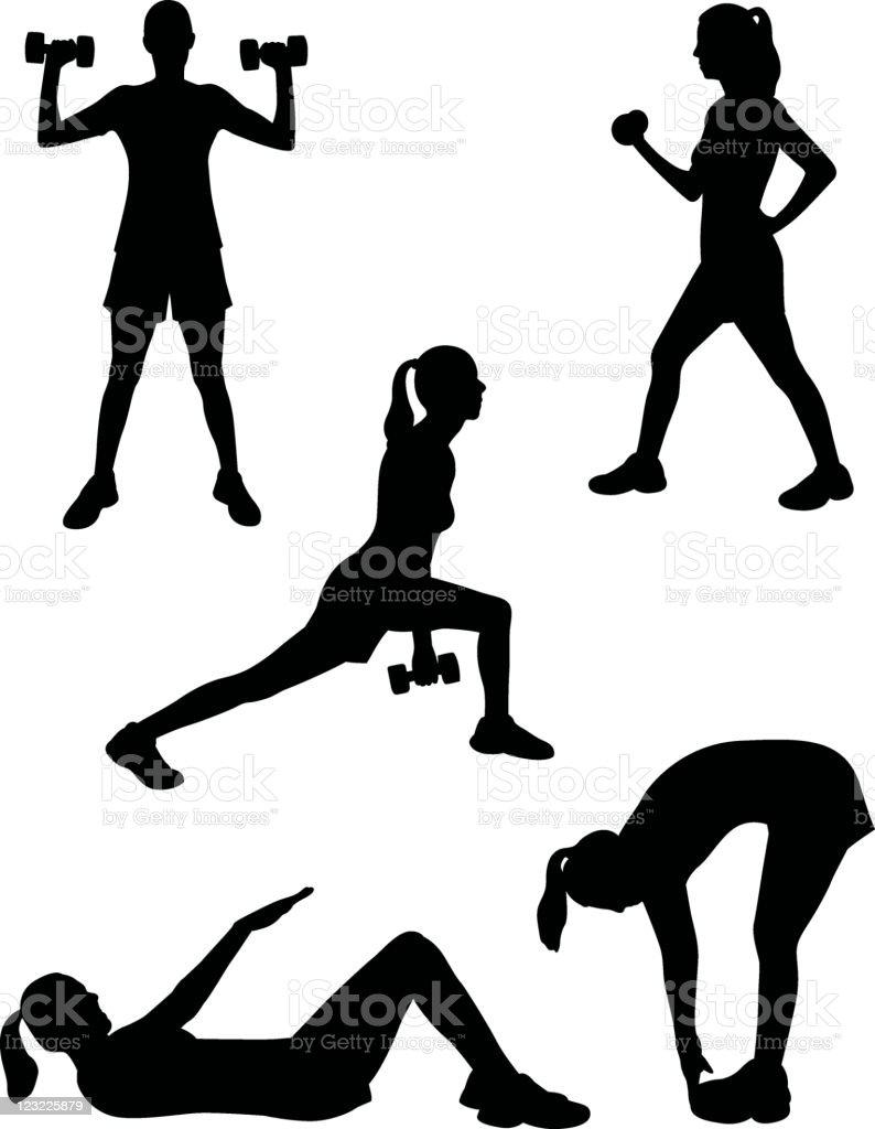 Healthy silhouette series vector art illustration