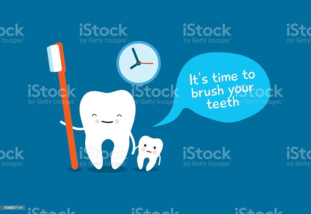 Healthy teeth and toothbrush. Good morning vector art illustration