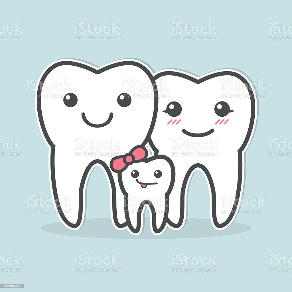 Healthy teeth family. vector art illustration