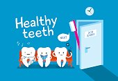 Healthy teeth on couch and toothbrush. Good morning