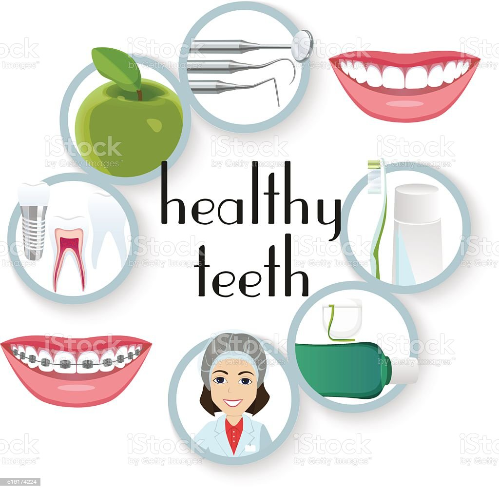 Healthy teeth, oral care, dentist vector art illustration
