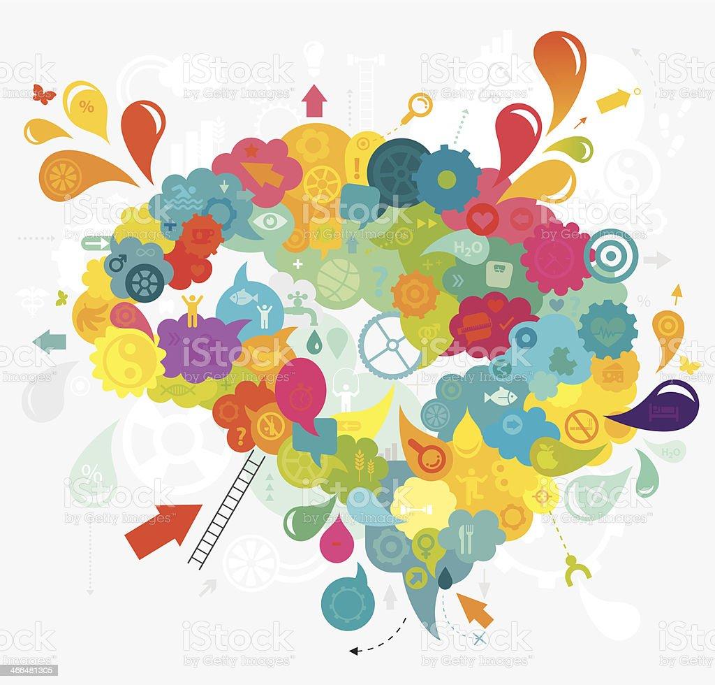 Healthy Thinking Brain vector art illustration