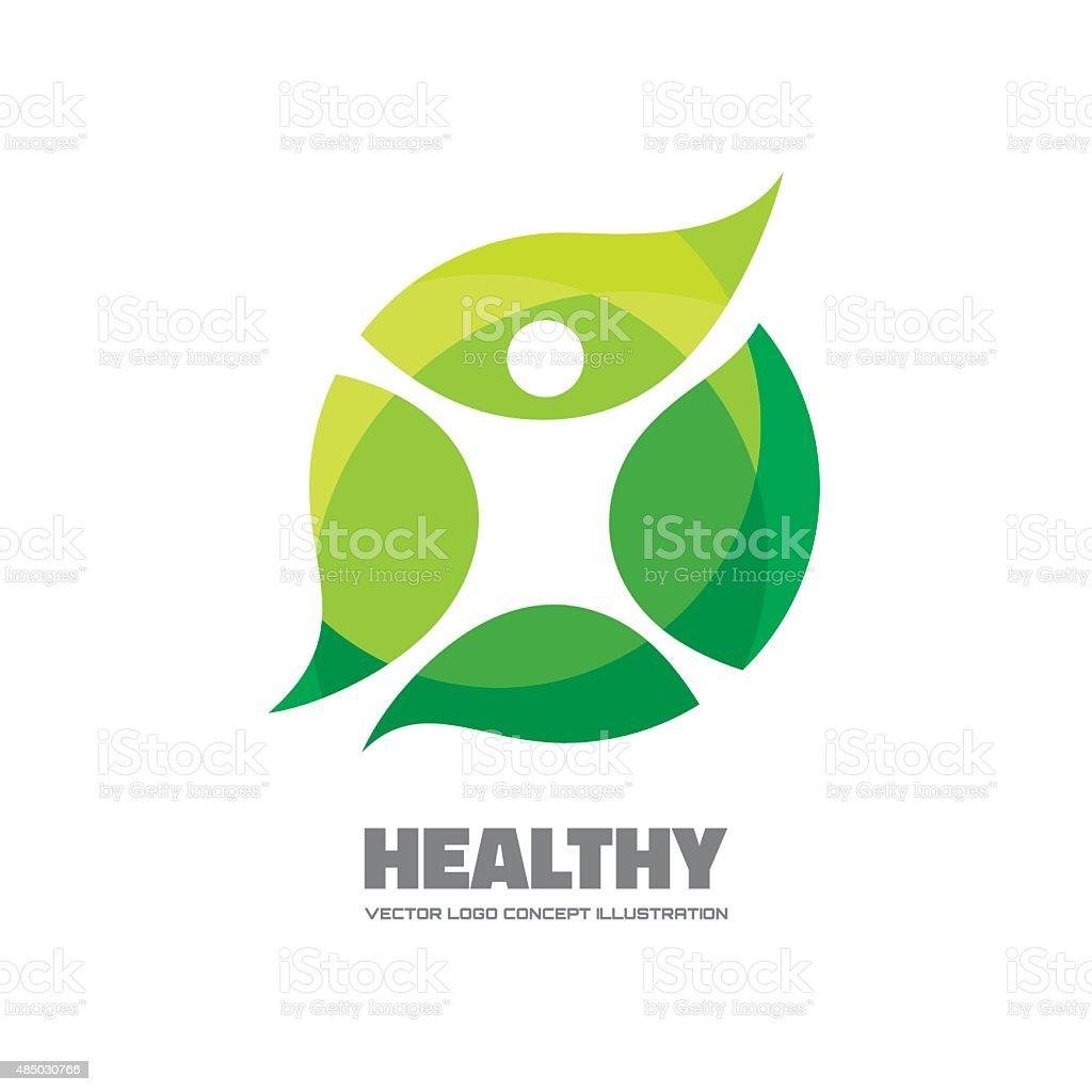 Healthy - vector logo sign concept illustration. vector art illustration