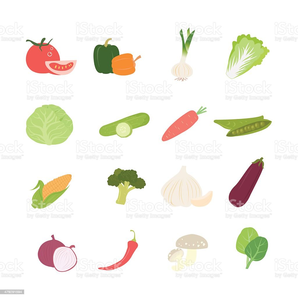 Healthy vegetable set, Vector food icon symbol vector art illustration