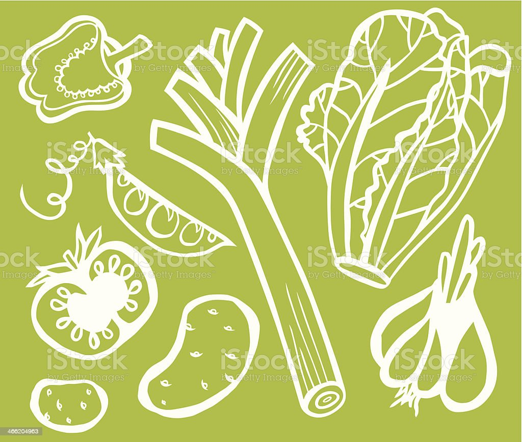 Healthy Vegetable Set White Outline On Green Background royalty-free stock vector art