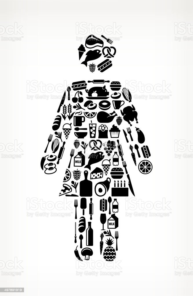 woman Stick Figure on royalty free vector icons Food and Drink. The...
