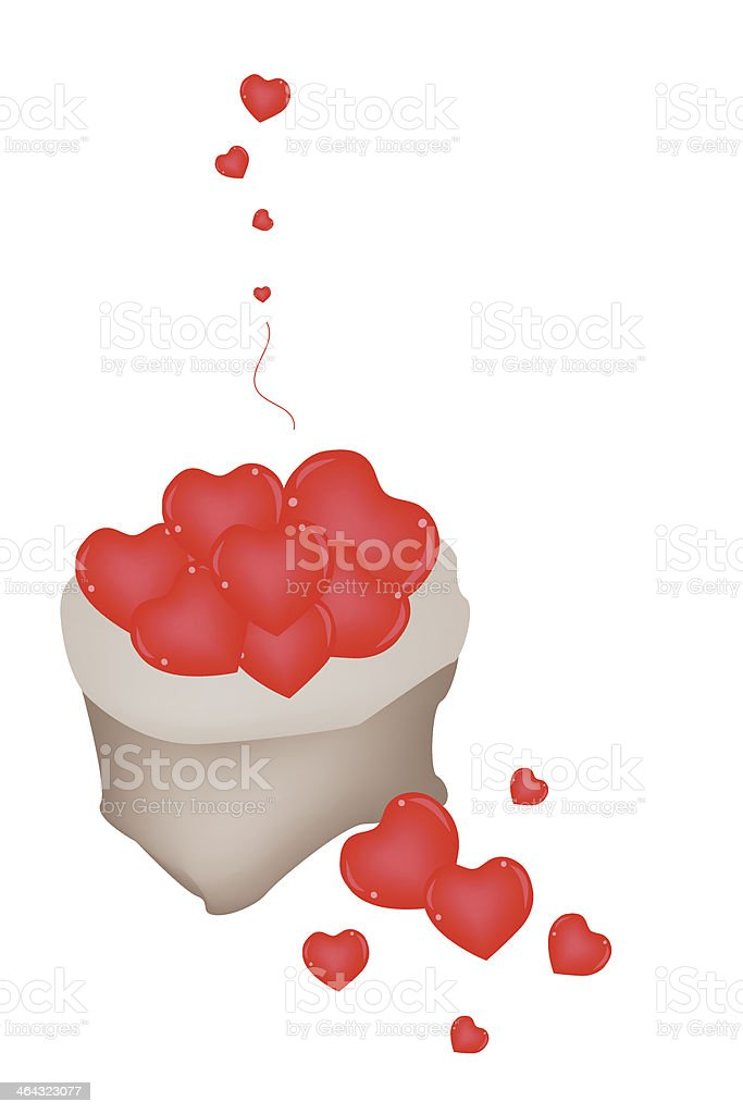 Heap of Red Hearts in A Sack vector art illustration