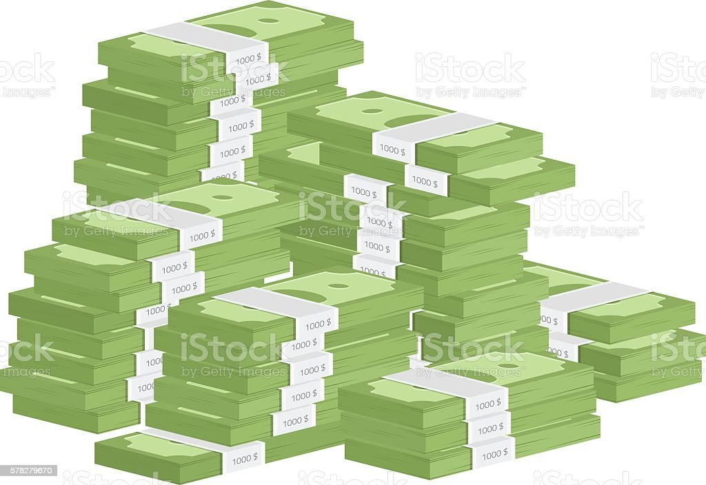 Heap of rolls money vector art illustration