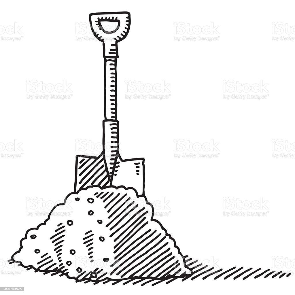 Heap Of Soil Spade Drawing vector art illustration