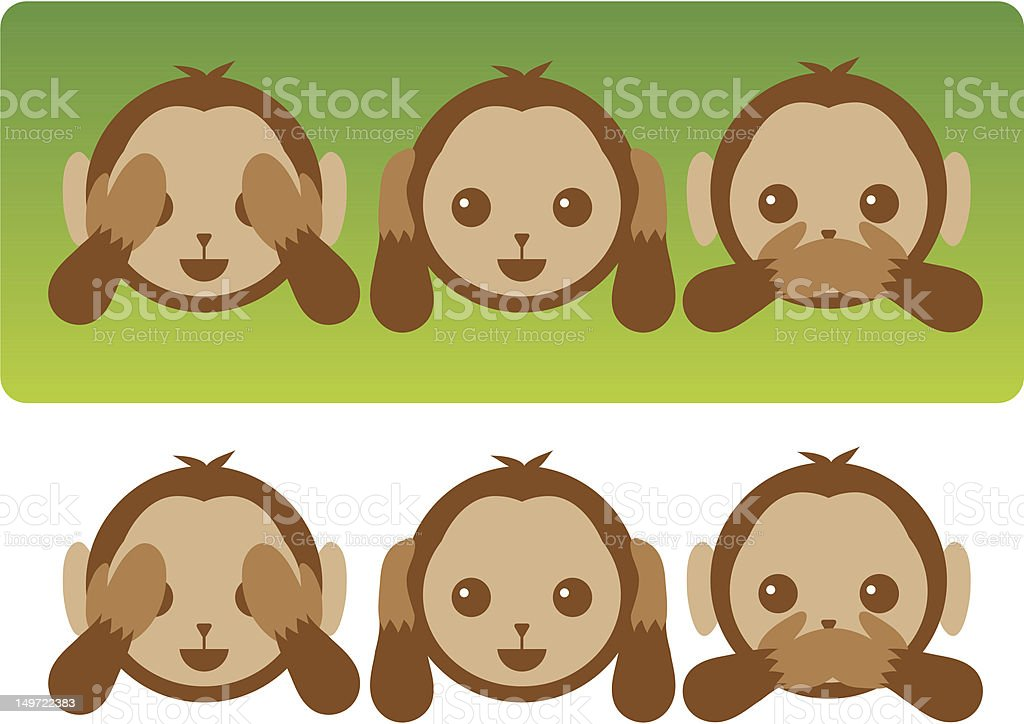 Hear No Evil Monkeys vector art illustration