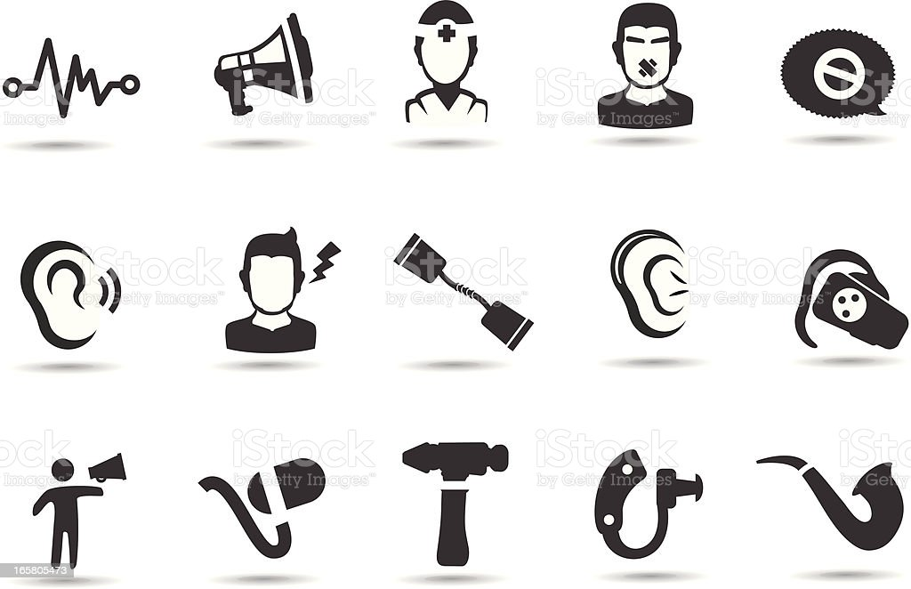 Hearing Loss Icons royalty-free stock vector art