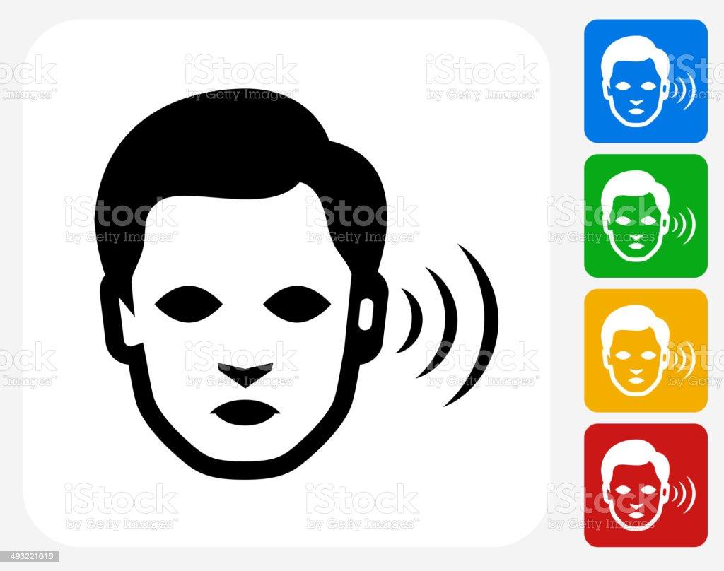 Hearing Lost Icon Flat Graphic Design vector art illustration