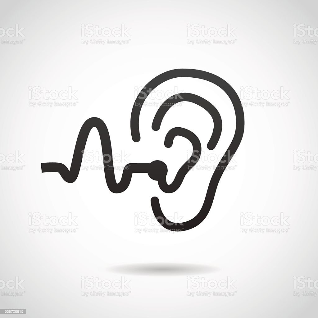 Hearing support icon isolated on white background. vector art illustration