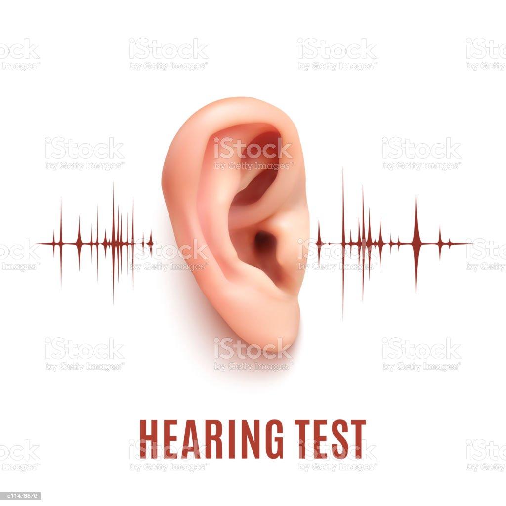 Hearing test. Ear on white background. vector art illustration