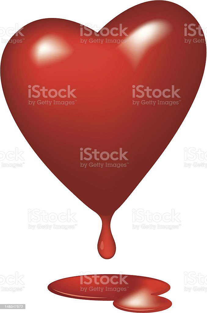 Heart 3D with blood droplet royalty-free stock vector art