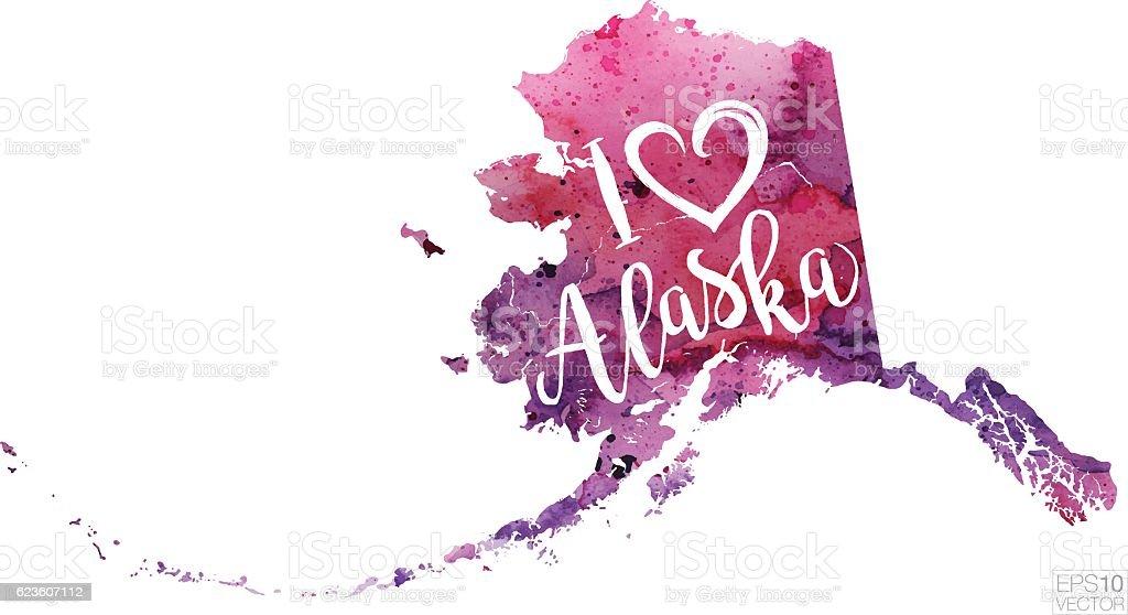 I Heart Alaska Vector Watercolor Map vector art illustration