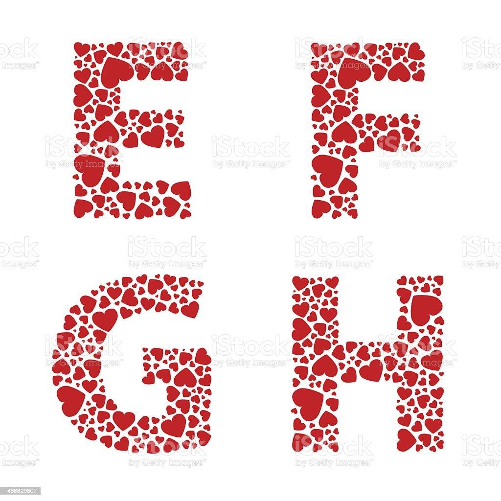 Heart Alphabet Font royalty-free stock vector art