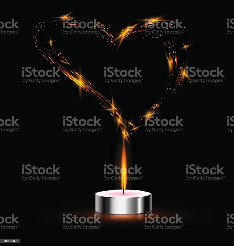 heart and candle vector art illustration