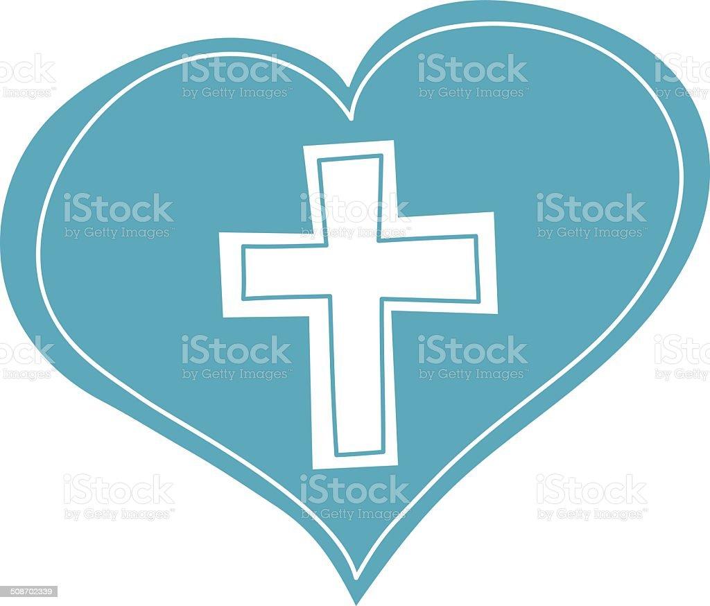 Heart and Christian Cross vector art illustration