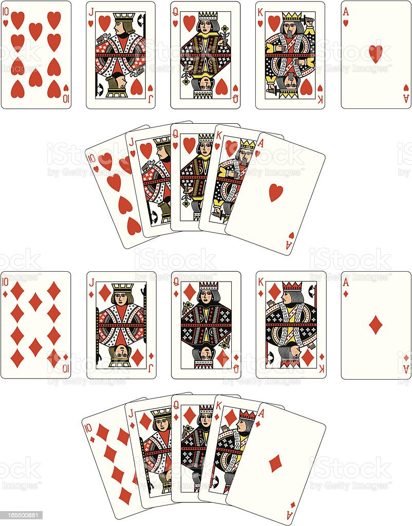 Heart and Diamond Suit Royal Flush playing cards vector art illustration
