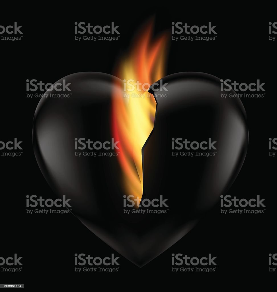 heart and flame vector art illustration