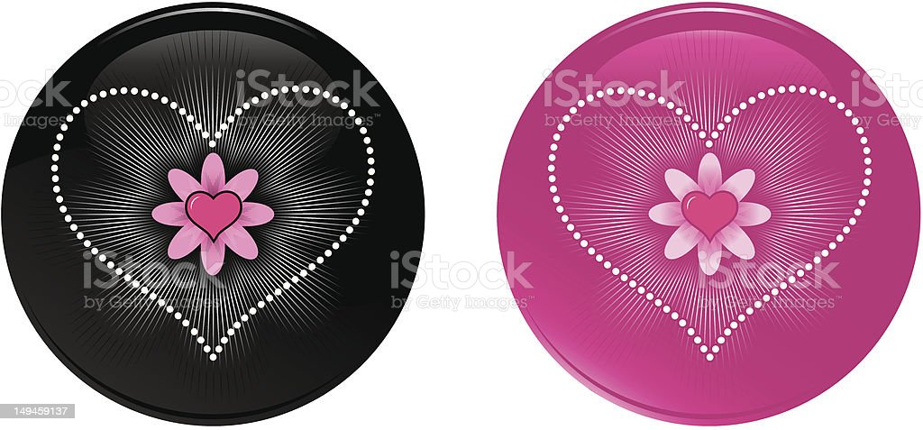 Heart and Flower Dotted love icons royalty-free stock vector art