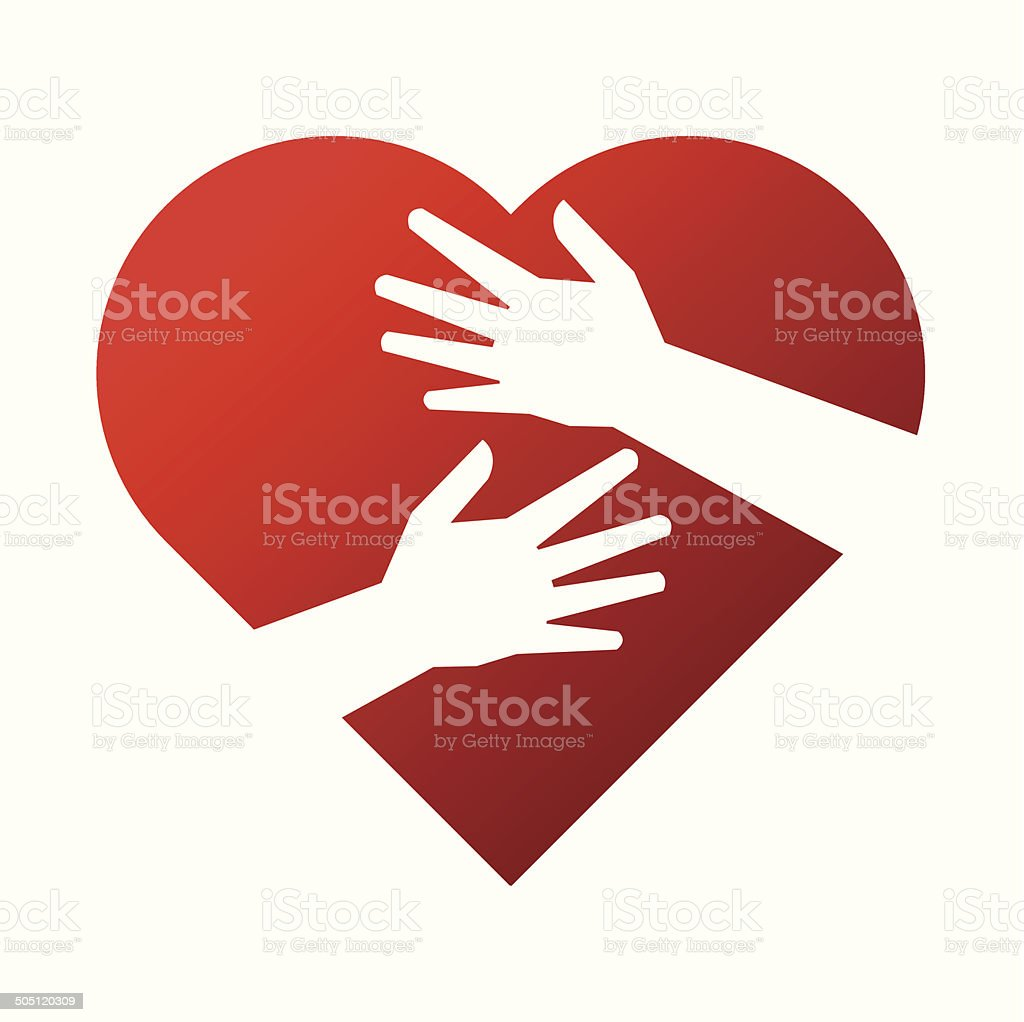 heart and hand concept vector art illustration