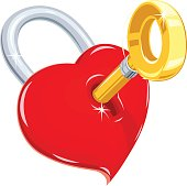 Heart and key. Symbol love for saint Valentines day