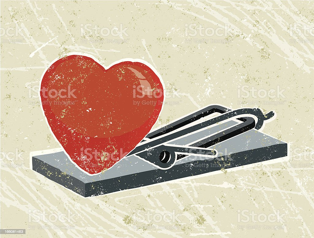 Heart and mousetrap royalty-free stock vector art