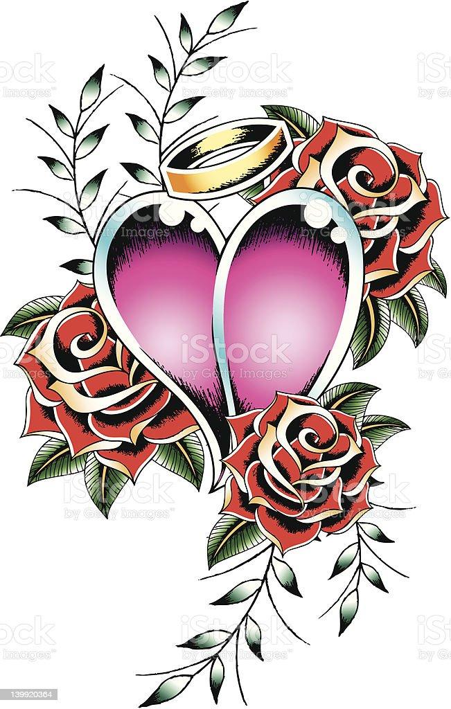 Tatuaggio cuore e rose illustrazione royalty-free
